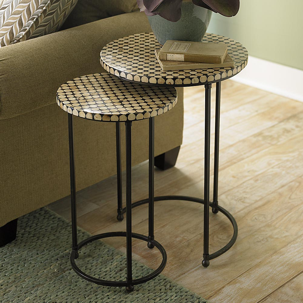 round nesting table set side and accent tables oak knurl target threshold verizon ellipsis metal accents for furniture entrance hall small deck chairs patio with umbrella two