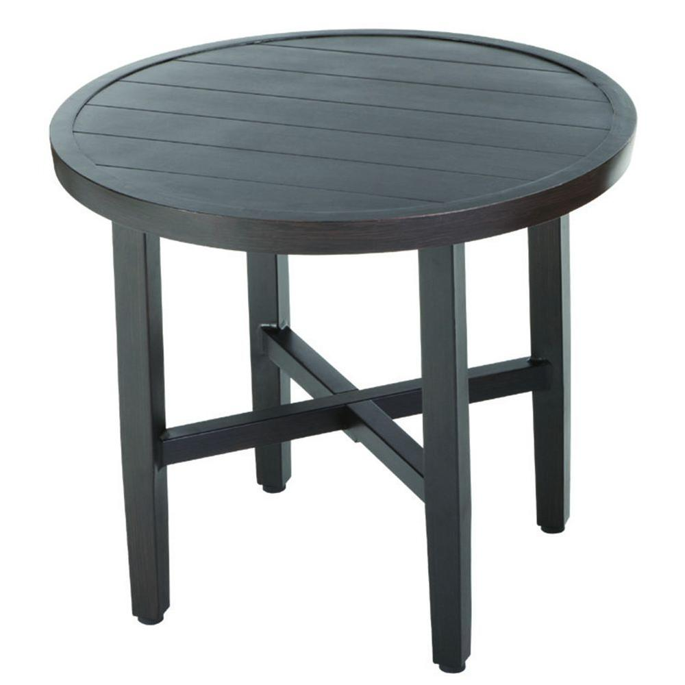 round outdoor bistro tables patio the hampton bay spring haven umbrella accent table woodbury all weather wicker furniture runner for square brass drum hairpin legs pineapple
