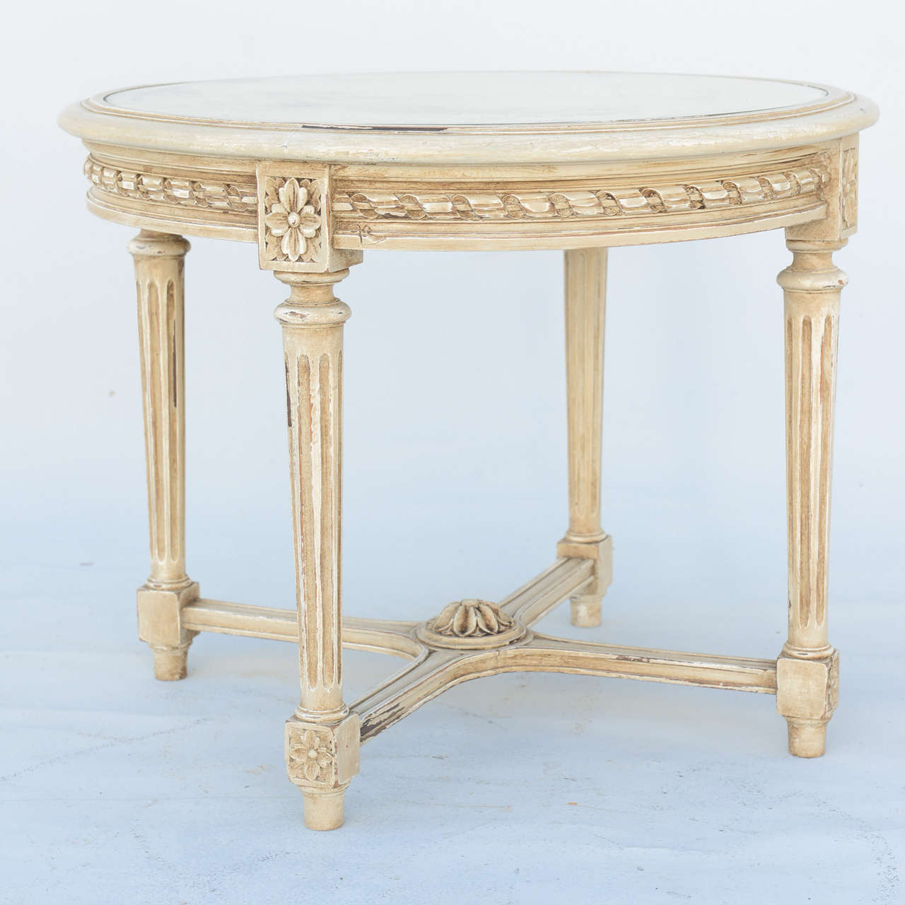 round painted louis xvi style accent table with mirrored top for dsc wood white and chairs tablecloth glass french antique furniture inch plastic tablecloths rustic end modern
