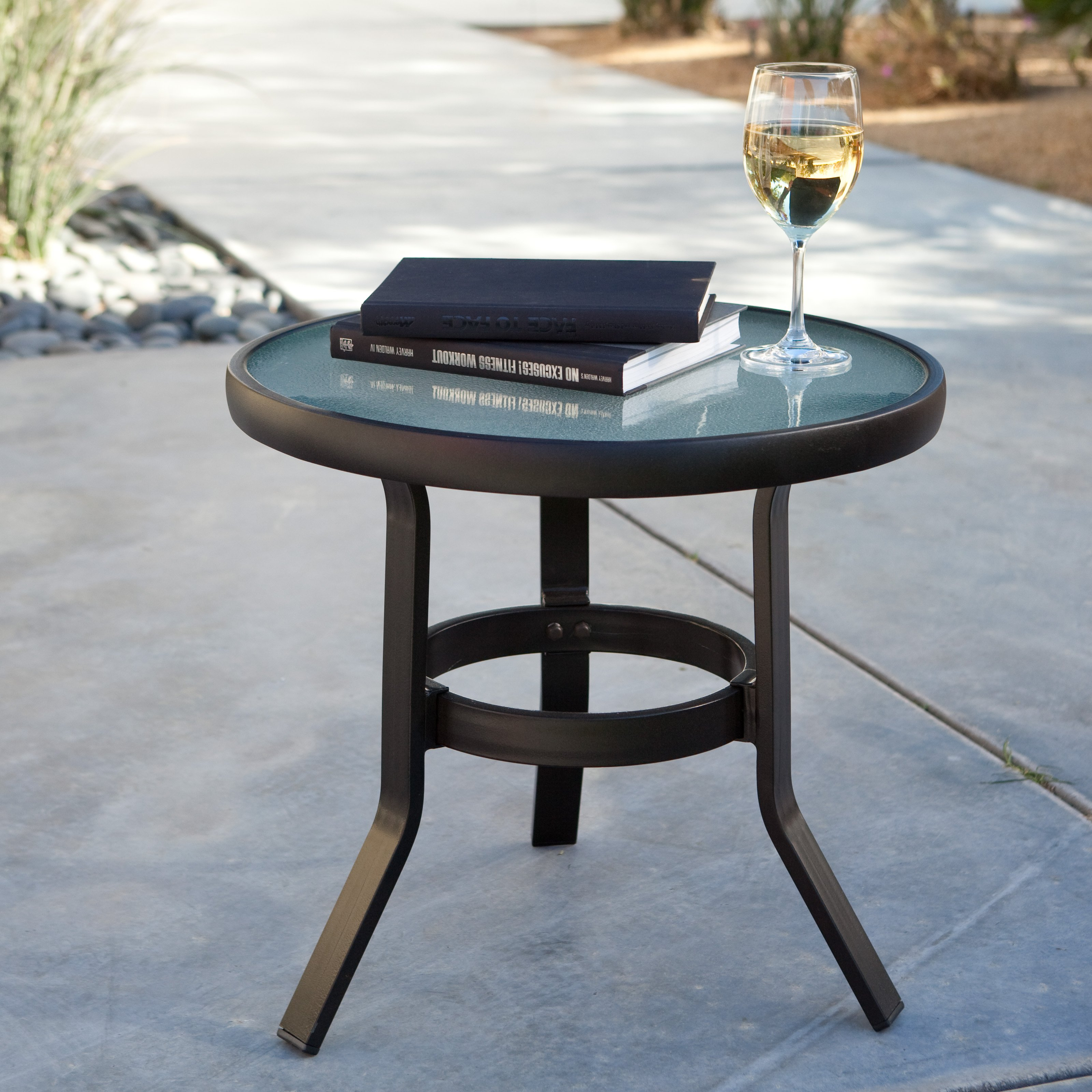 round patio side table outdoor front porch deck pool glass top end metal accent details malm nightstand sofa legs white garden furniture sets small mirrored green tiffany lamp