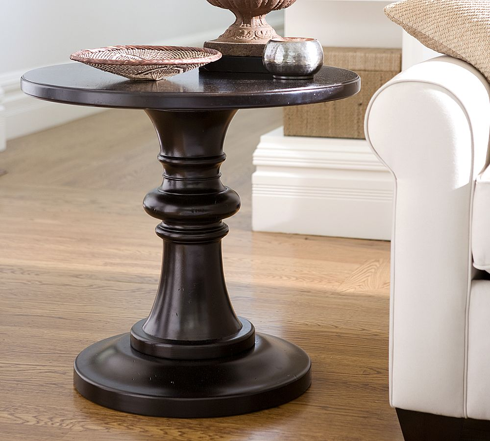 round pedestal accent table furniture design popular with pottery barn rustic copy cat chic decor sofa wine storage console cabinet glass end tables contemporary outdoor mosaic