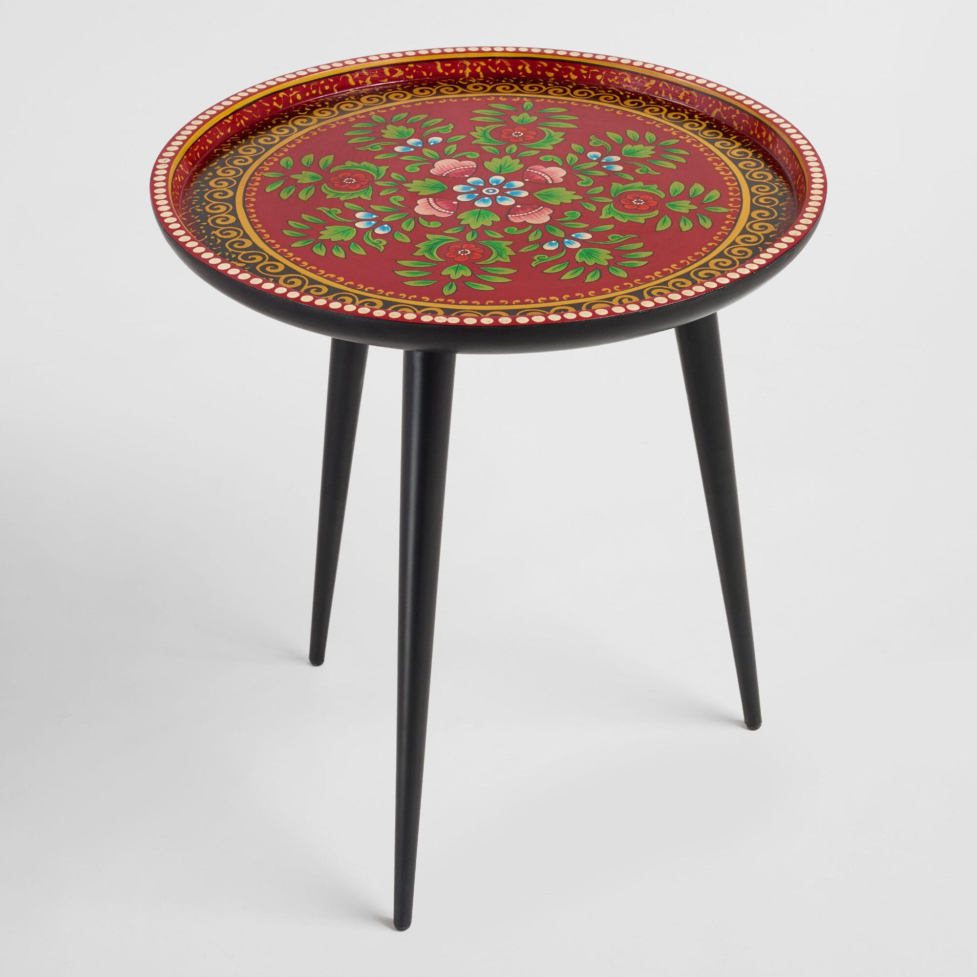 round red hand painted floral accent table world market iipsrv fcgi folding target mini lanterns modern nic gray farmhouse west elm lamp shades threshold side metal patio