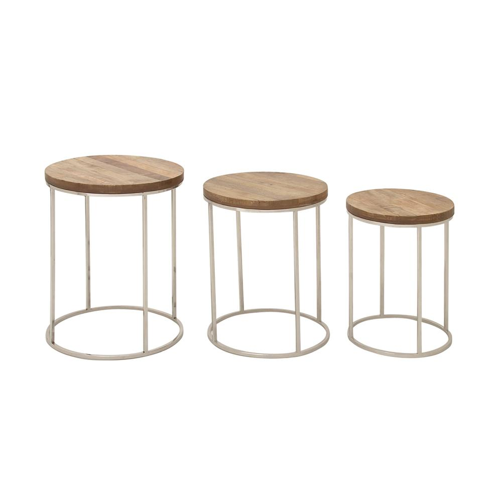 round rustic end tables accent the silver cardboard table brown wood and stainless steel nesting set gold bedside small modern long behind couch ashley furniture cocktail concrete