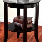 round side accent table inset glass espresso top end pedestal bedside small mirror jcpenney decorative pillows wicker trunk stackable tables hardwood threshold center decor 150x150