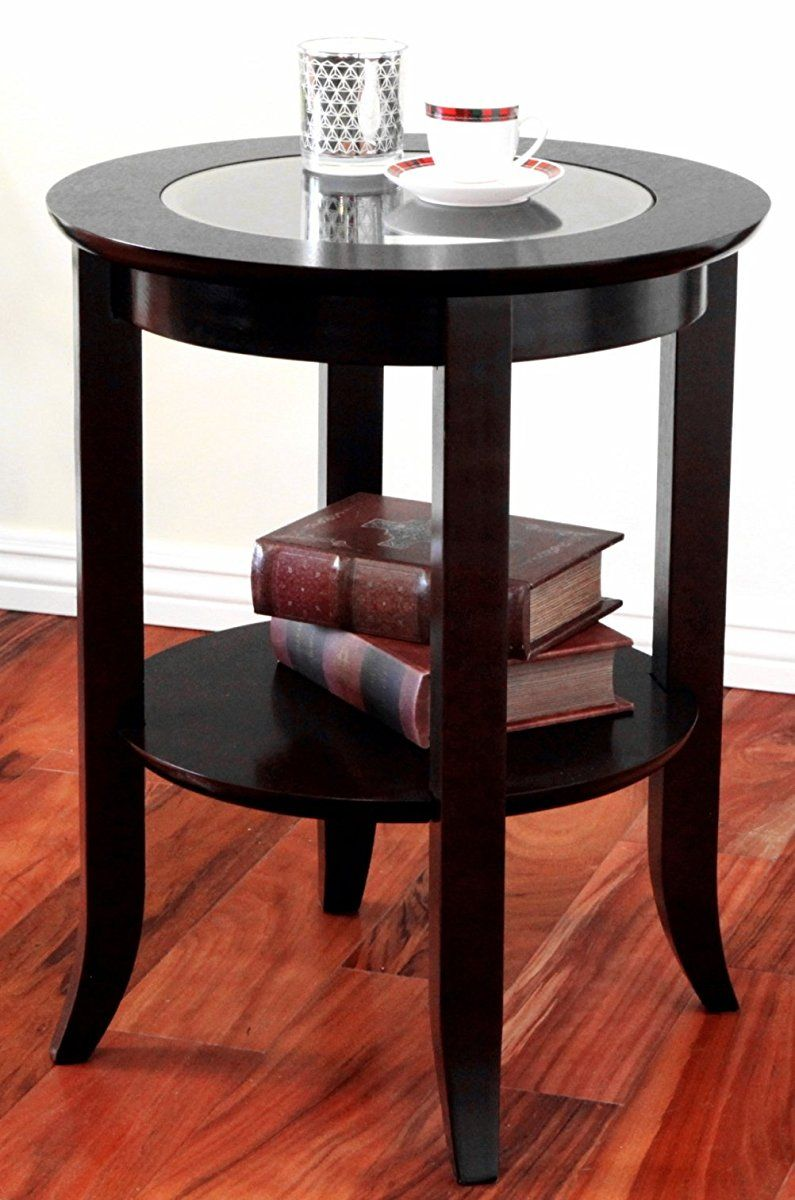 round side accent table inset glass espresso top end pedestal bedside small mirror jcpenney decorative pillows wicker trunk stackable tables hardwood threshold center decor