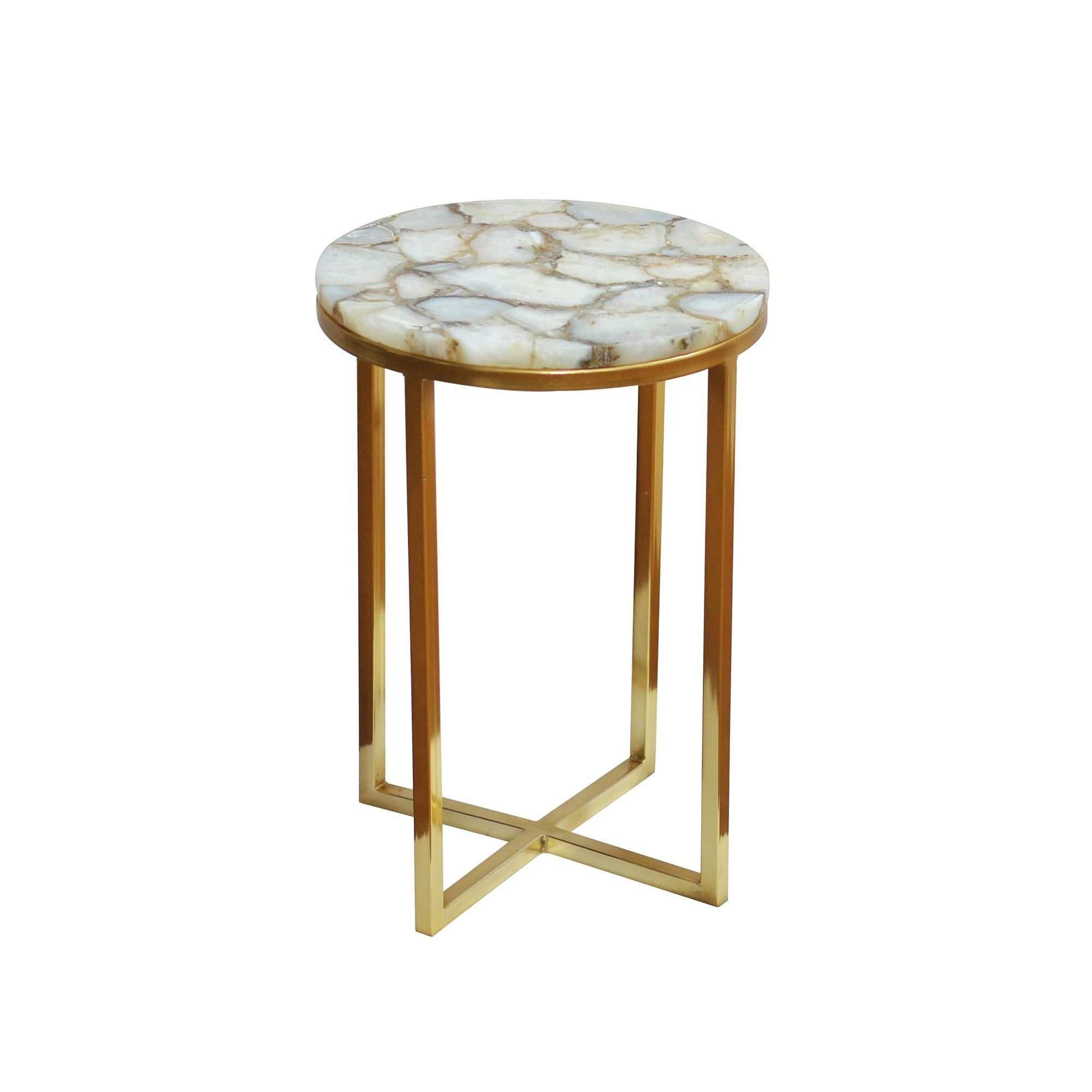 round side table with natural white agate tabletop and steel contemporary accent base gold electroplating copper gray mirror drawing small storage chest coffee ideas black wire