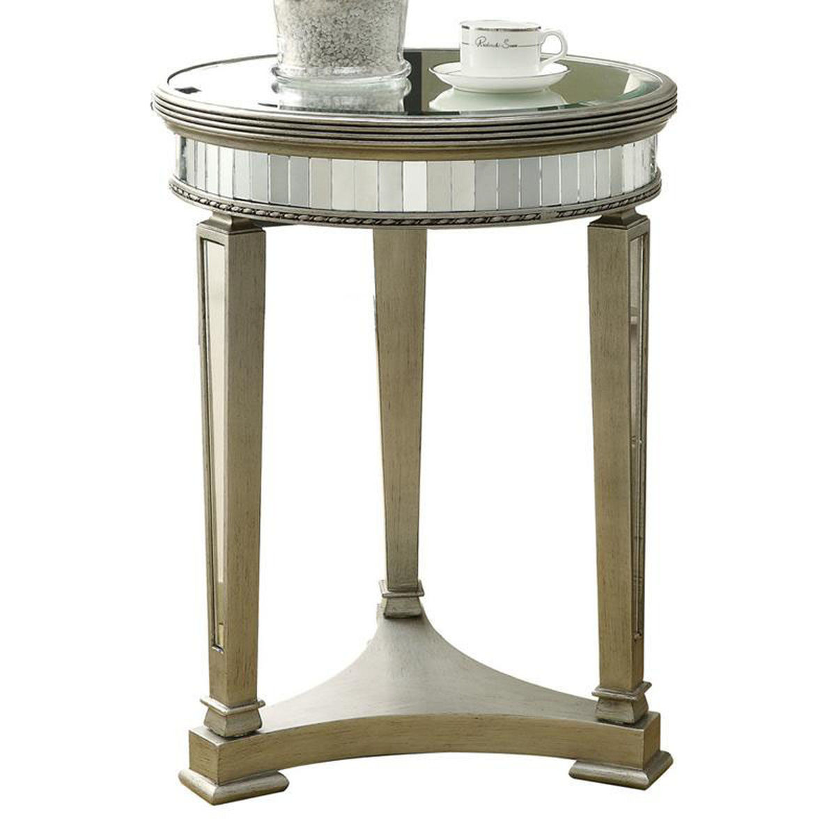 round silver accent table bizchair monarch specialties msp main our contemporary diameter with mirror finish brushed nautical themed side restoration hardware leather chair tall