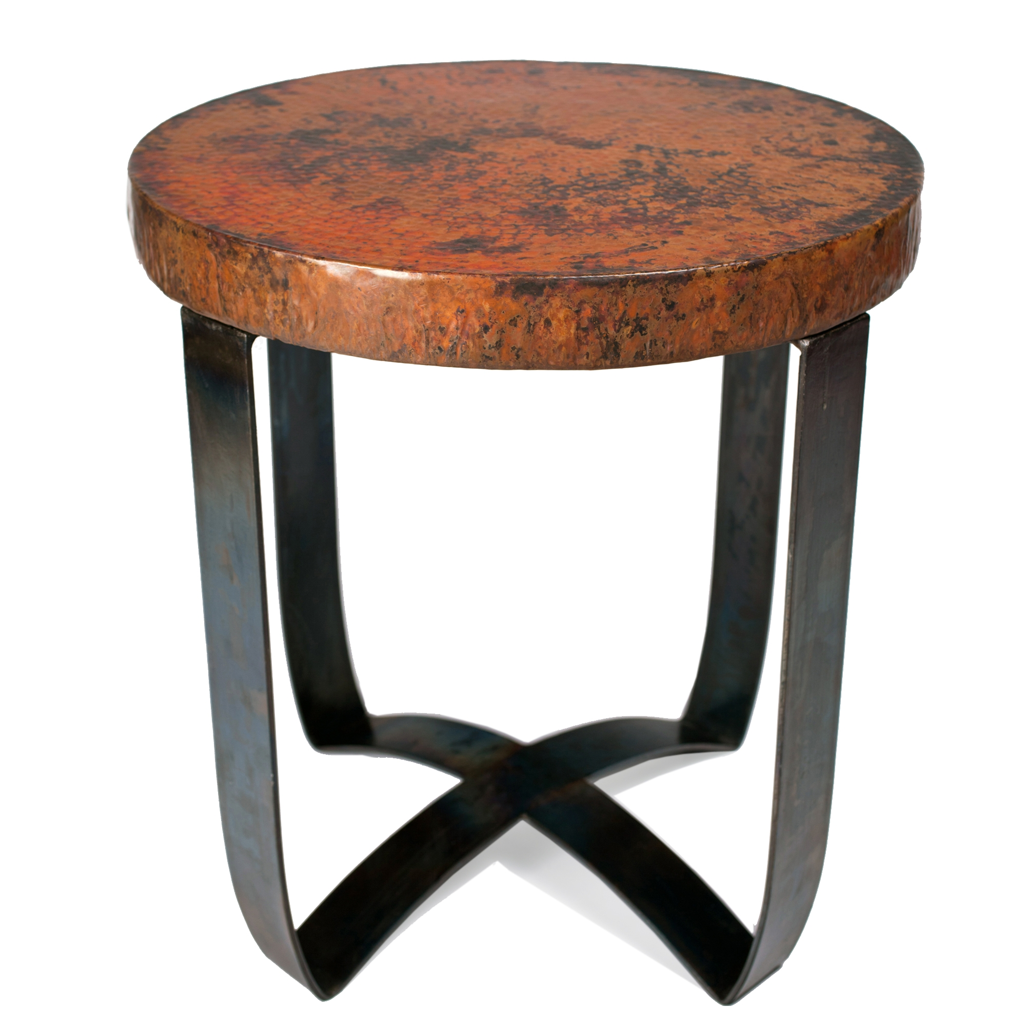 round strap end table with hammered copper top twi wrought iron patio accent small coffee designs hallway console outdoor folding narrow side concrete outside tables blue and