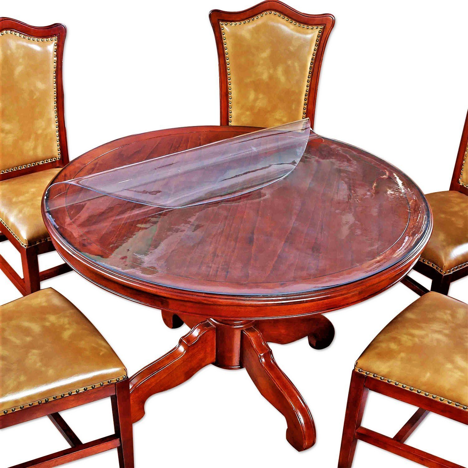 round table cover bedside sofa side dining coffee accent tablecloth end tabletop cloth protector clear plastic vinyl pvc wipeable water resistant mosaic tile bistro and chairs