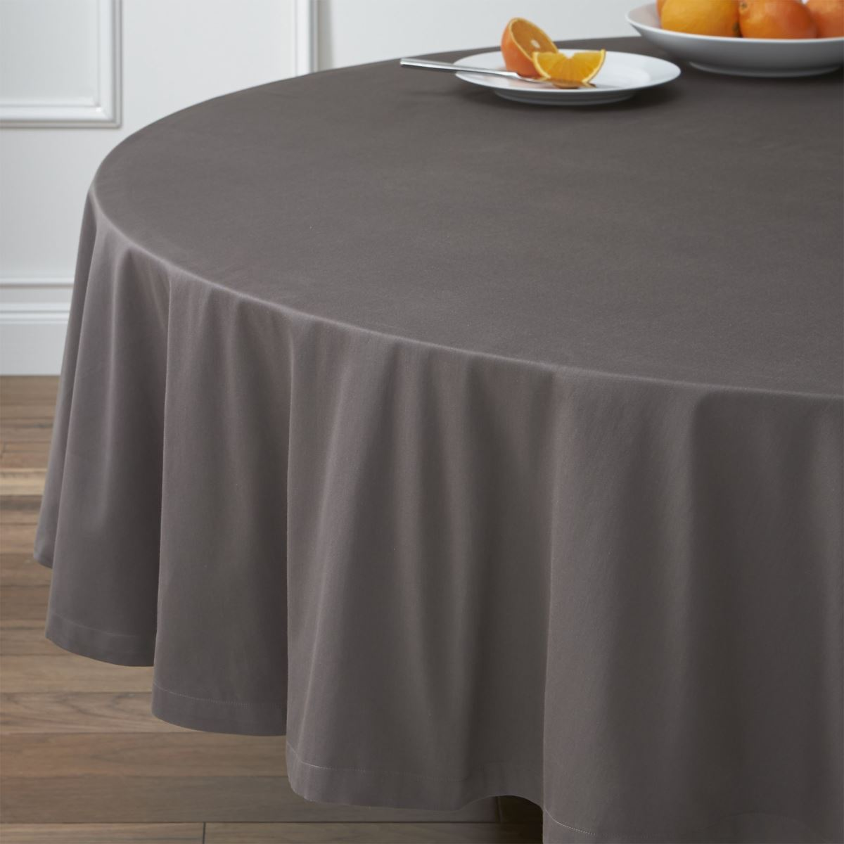round tablecloths for summer entertaining grey tablecloth from crate barrel accent table cloths view gallery pier stools lamp shades wall lights garden furniture sets marble door