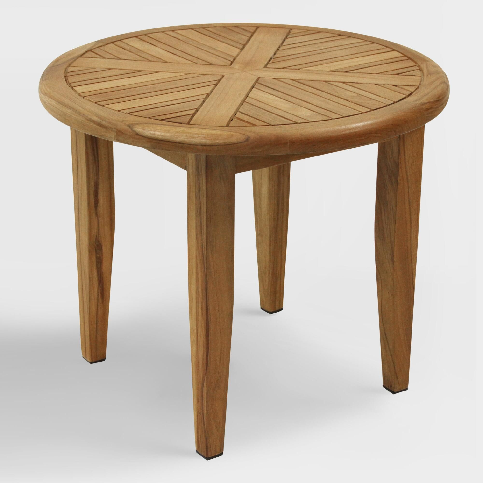 round teak wood hakui lounging accent table world market outdoor oak console narrow foyer mosaic garden side foosball diy large coffee unique chairs chest furniture corner patio