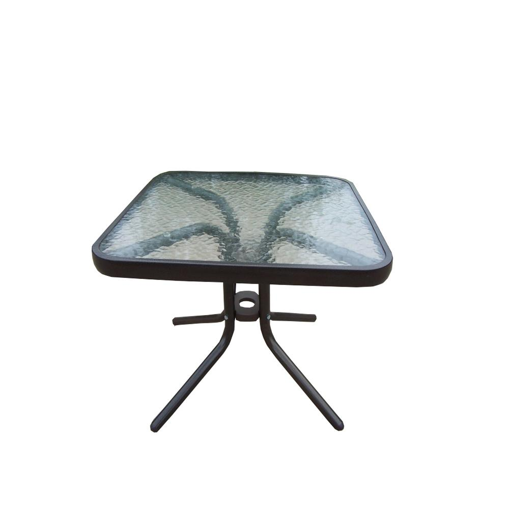 round tempered glass top black outdoor side table with tables aluminum frame wood end entryway lamp rustic sliding door metal garden kmart cushions patio and chairs pedestal base