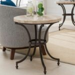 round travertine stone top side table with rubbed bronze metal base hawthorne glass accent furnishings small mirrored nightstand high bistro ball lamp threshold fretwork uttermost 150x150