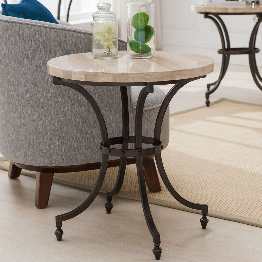 round travertine stone top side table with rubbed bronze metal base hawthorne glass accent furnishings small mirrored nightstand high bistro ball lamp threshold fretwork uttermost