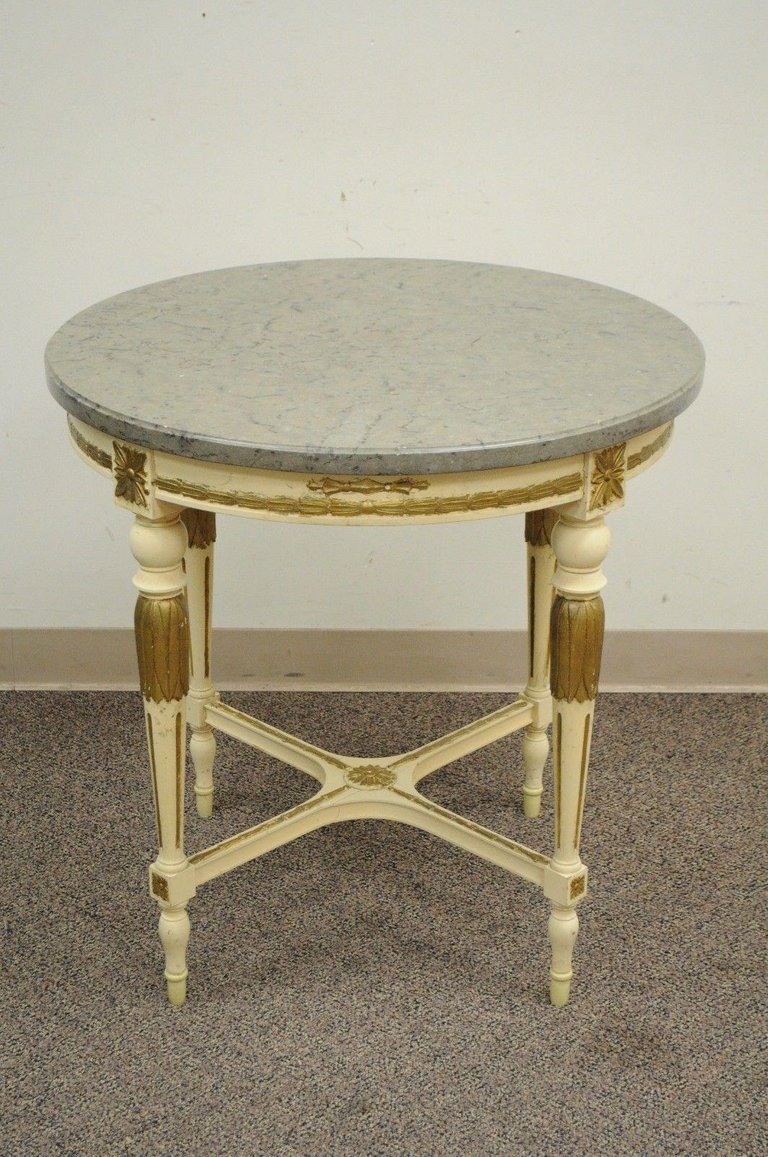 round vintage french louis xvi marble granite top bouillotte lamp master gold accent table style item features solid target mirror room essentials area rug inch furniture legs