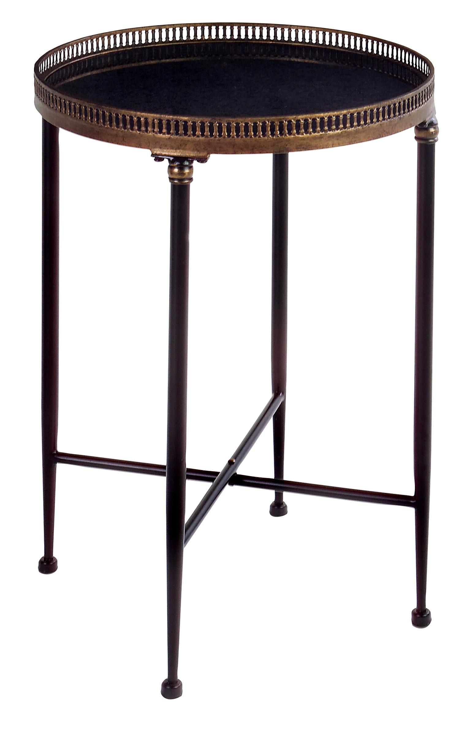 round walnut side table with nickel accents colorful accent tables black ojcommerce cassie glass shelf grey outdoor furniture antique lamp metal end tweed barn door console