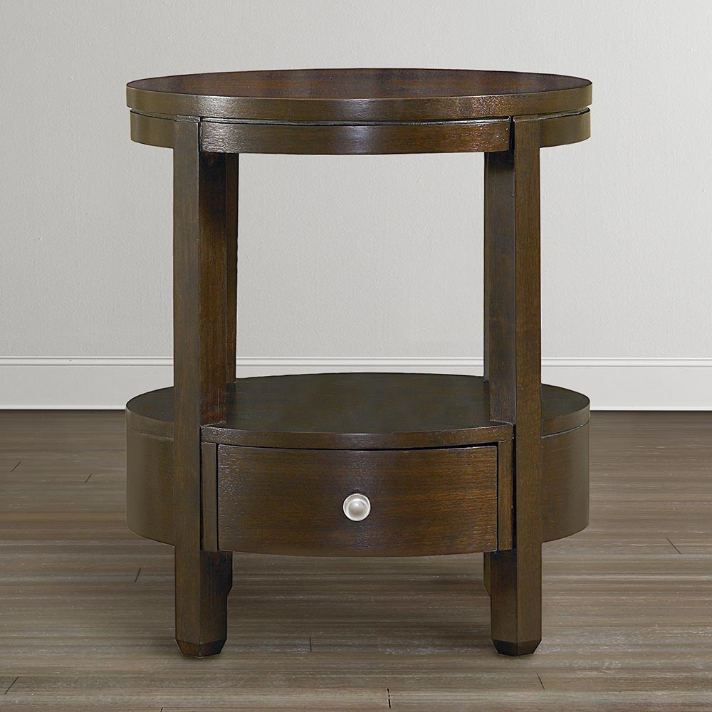 round walnut side table with nickel accents colorful accent tables unique end mission lamp home furniture ideas lighting designer triangle bar height tall comfy garden bamboo