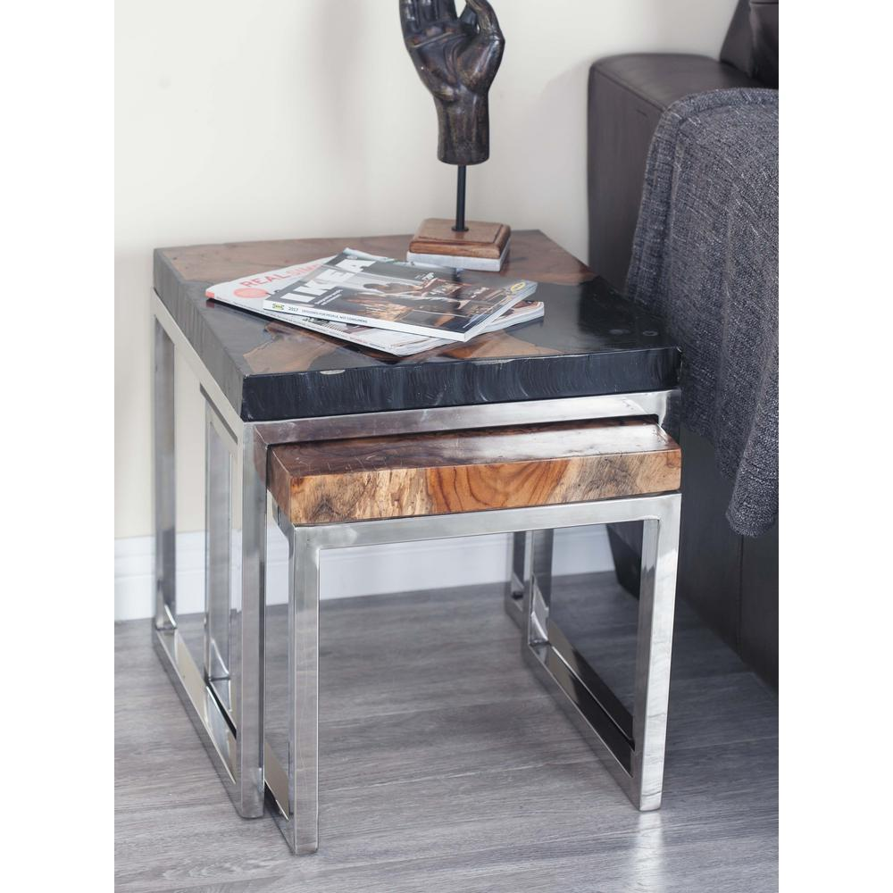 round white end tables accent the dark brown litton lane teak wood table and aluminum pedestal set butterfly lamp metal bar outdoor chairs for balcony high top nook marble silver