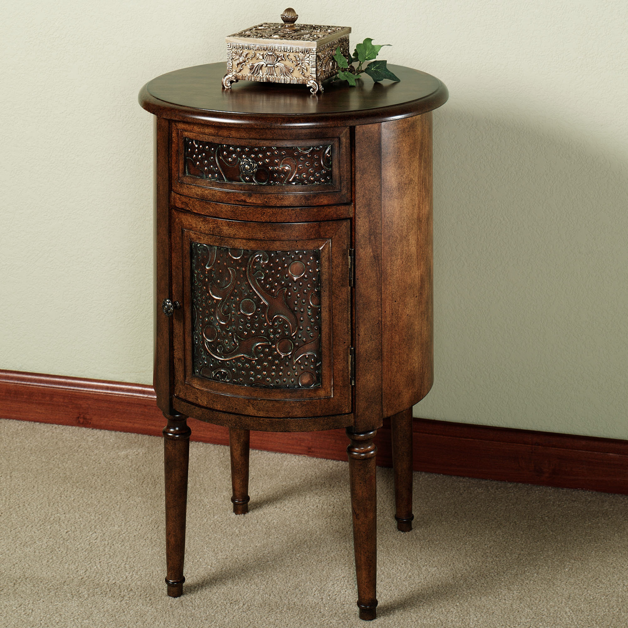 round wood accent table with industrial style tables end concrete and coffee salvaged dining black side ashley home furniture clearance center ethan allen sleeper chair queen anne