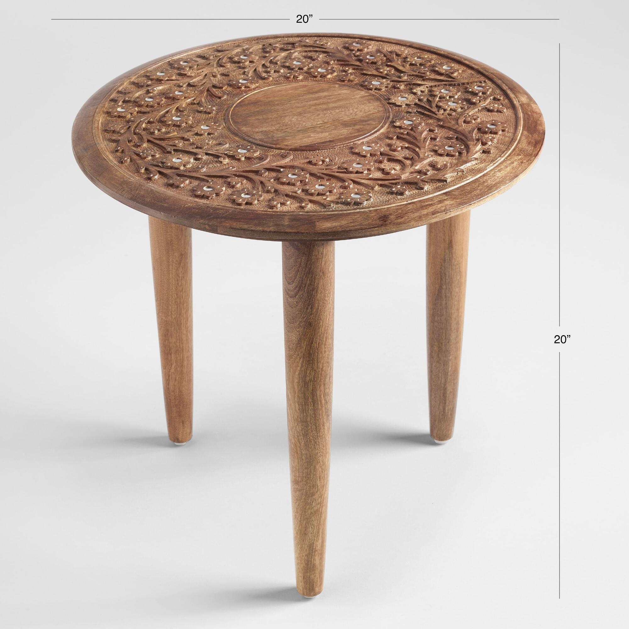 round wood carved floral esmee accent table world market iipsrv fcgi oak light bulb television tables echo dot antique drop leaf kitchen outdoor side drum steel and nic bench