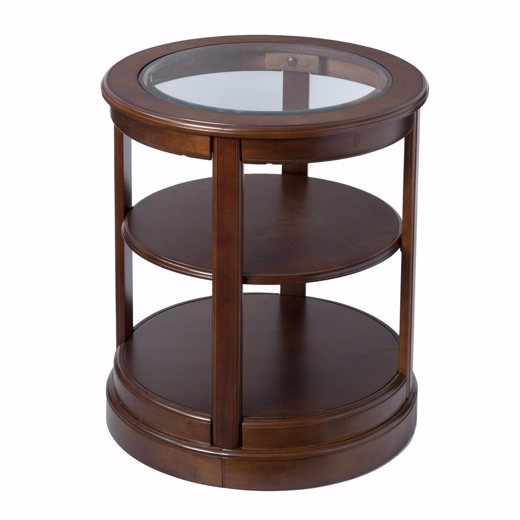 round wood side accent table with glass top and shelf brown finish includes custom mouse pad kitchen dining oak nest tables tablecloth for threshold nightstand minotti furniture
