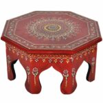 round wooden table red meenakari painted moroccan style accent chowki bajot handmade outdoor dining chairs bunnings furniture behind couch half circle console metal bookshelf 150x150