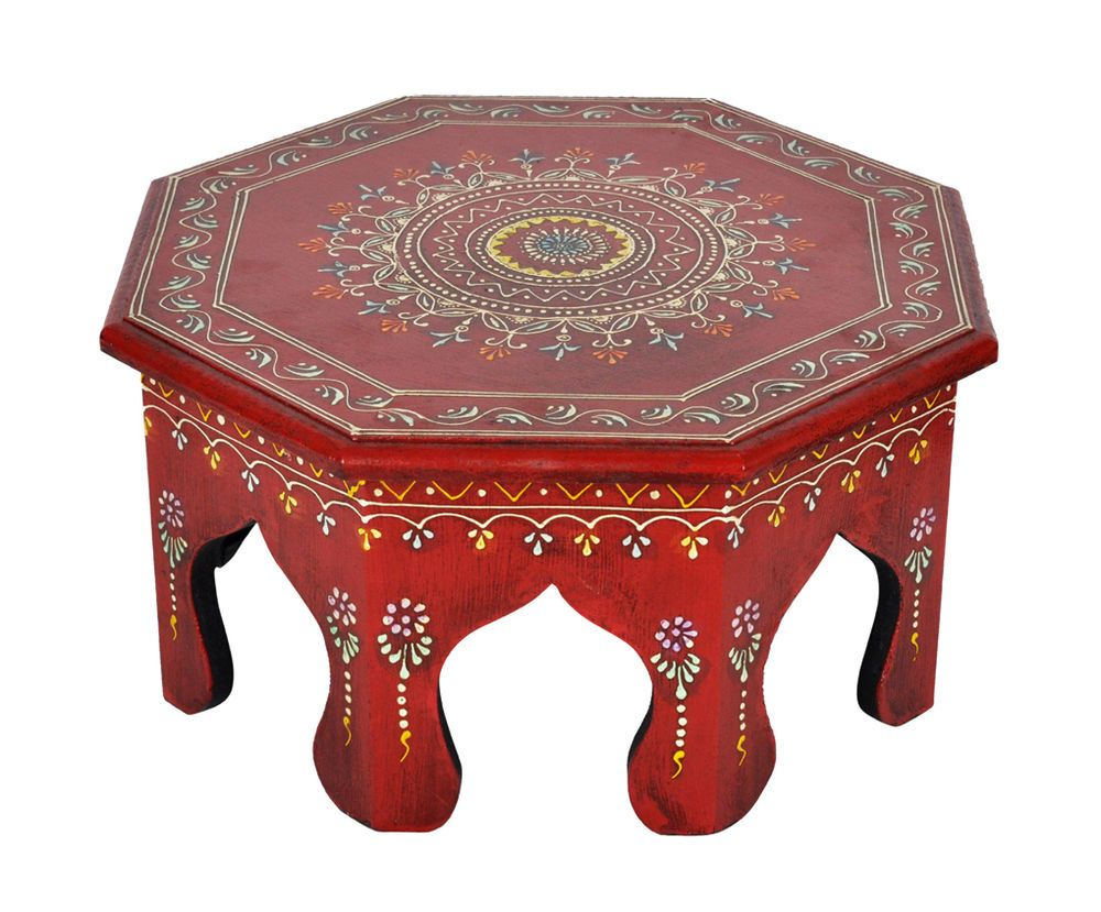 round wooden table red meenakari painted moroccan style accent chowki bajot handmade outdoor dining chairs bunnings furniture behind couch half circle console metal bookshelf