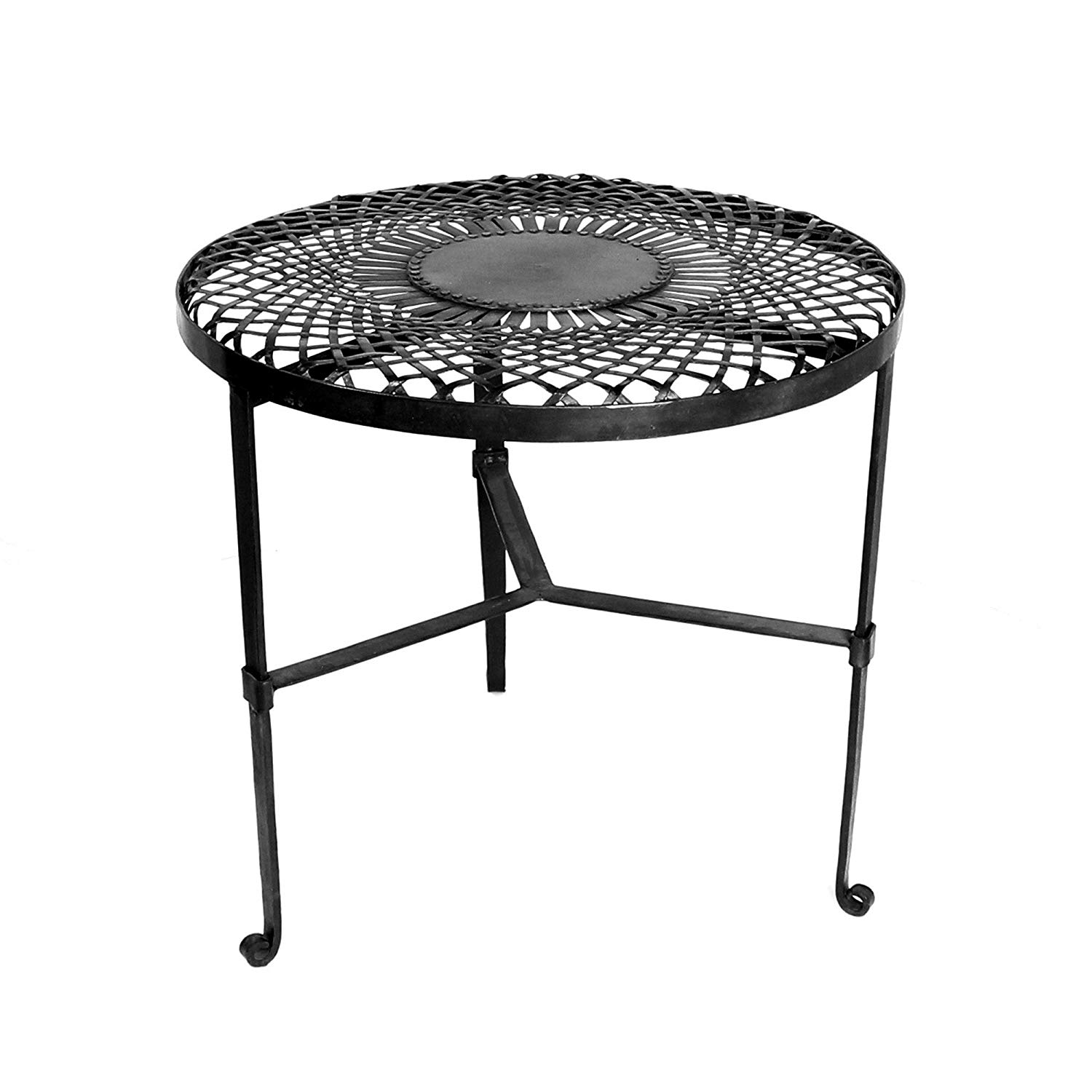 round woven mandala metal iron table black open stand accent kitchen dining small white night room chairs with arms reclaimed wood narrow side cabinet tall square coffee modern