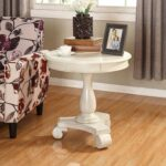 roundhill furniture rene round wood pedestal avalon accent table side white kitchen dining wrought iron outdoor pottery barn hammock timmy night black speed trestle base silver 150x150