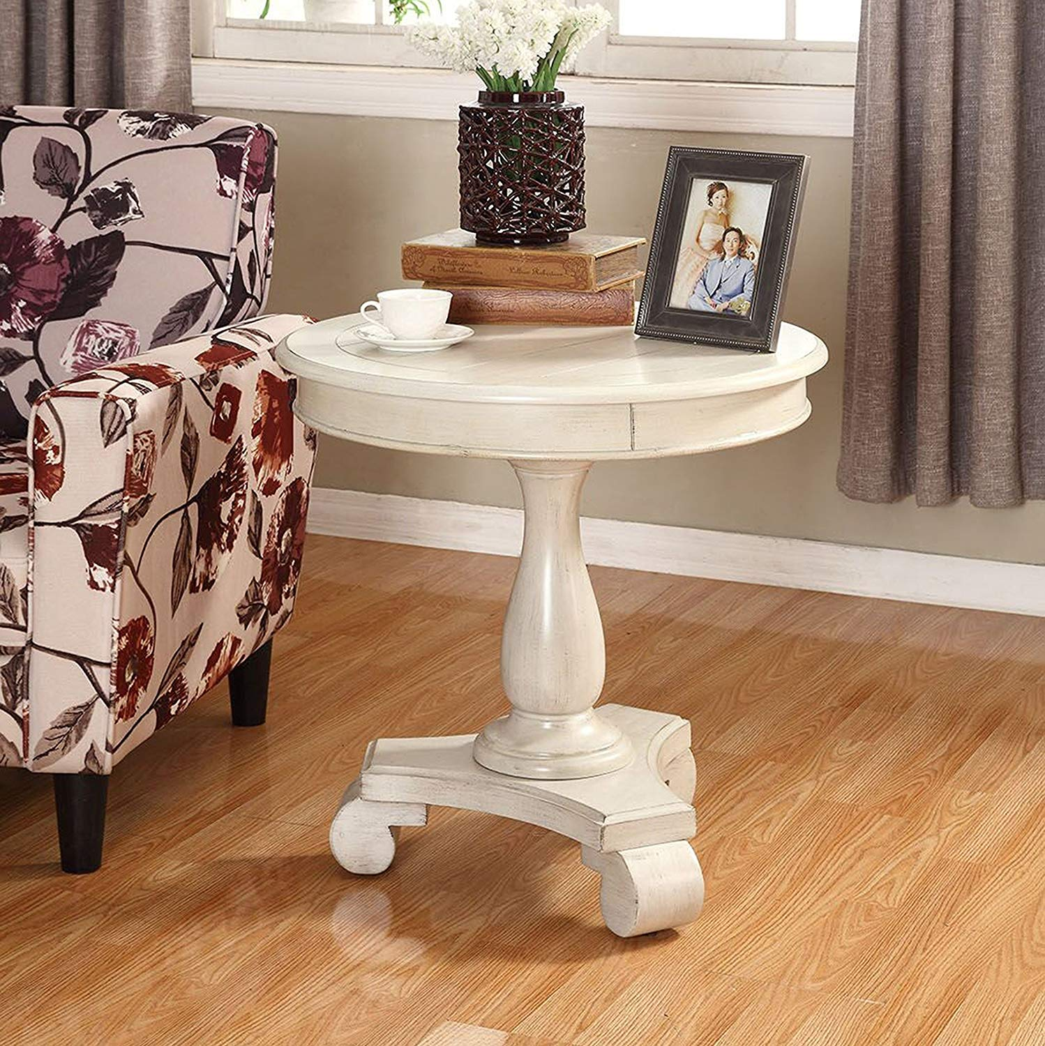 roundhill furniture rene round wood pedestal avalon accent table side white kitchen dining wrought iron outdoor pottery barn hammock timmy night black speed trestle base silver
