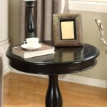 roundhill furniture rene round wood pedestal side table avalon accent black kitchen dining pottery barn hammock silver console hall with drawers turned legs green lamps 150x150