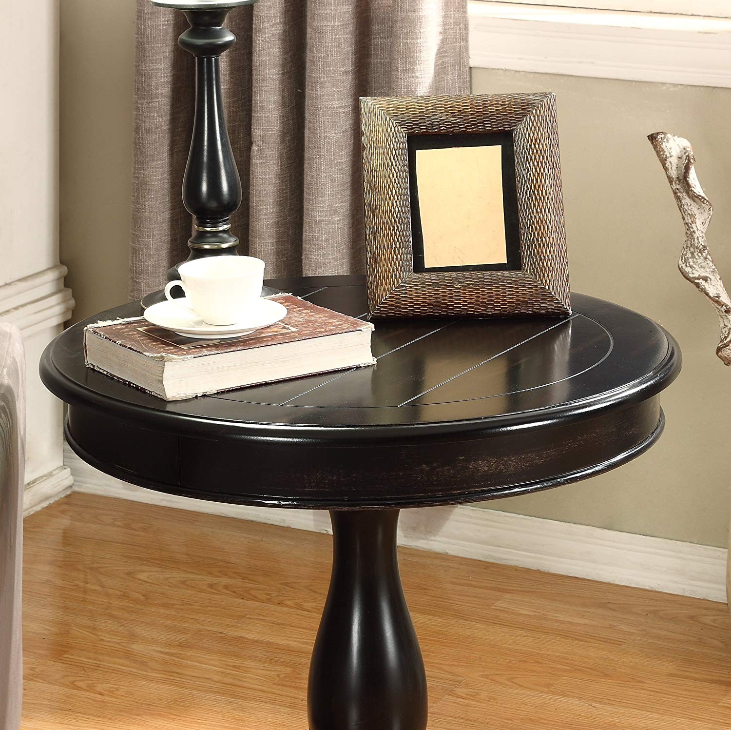 roundhill furniture rene round wood pedestal side table avalon accent black kitchen dining pottery barn hammock silver console hall with drawers turned legs green lamps