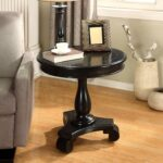 roundhill furniture rene round wood pedestal side table avalon accent black kitchen dining stump end mats green painted tables blue coffee and set designs with drawers leg ideas 150x150