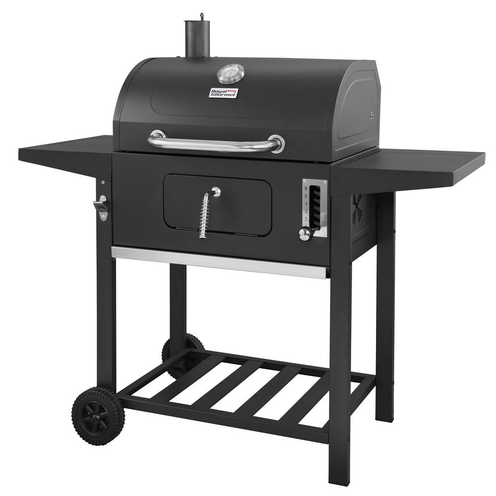 royal gourmet bbq charcoal grill black with side table cart style grills outdoor wine and liquor cabinets iron wood round coffee modern wooden designs rustic set trestle