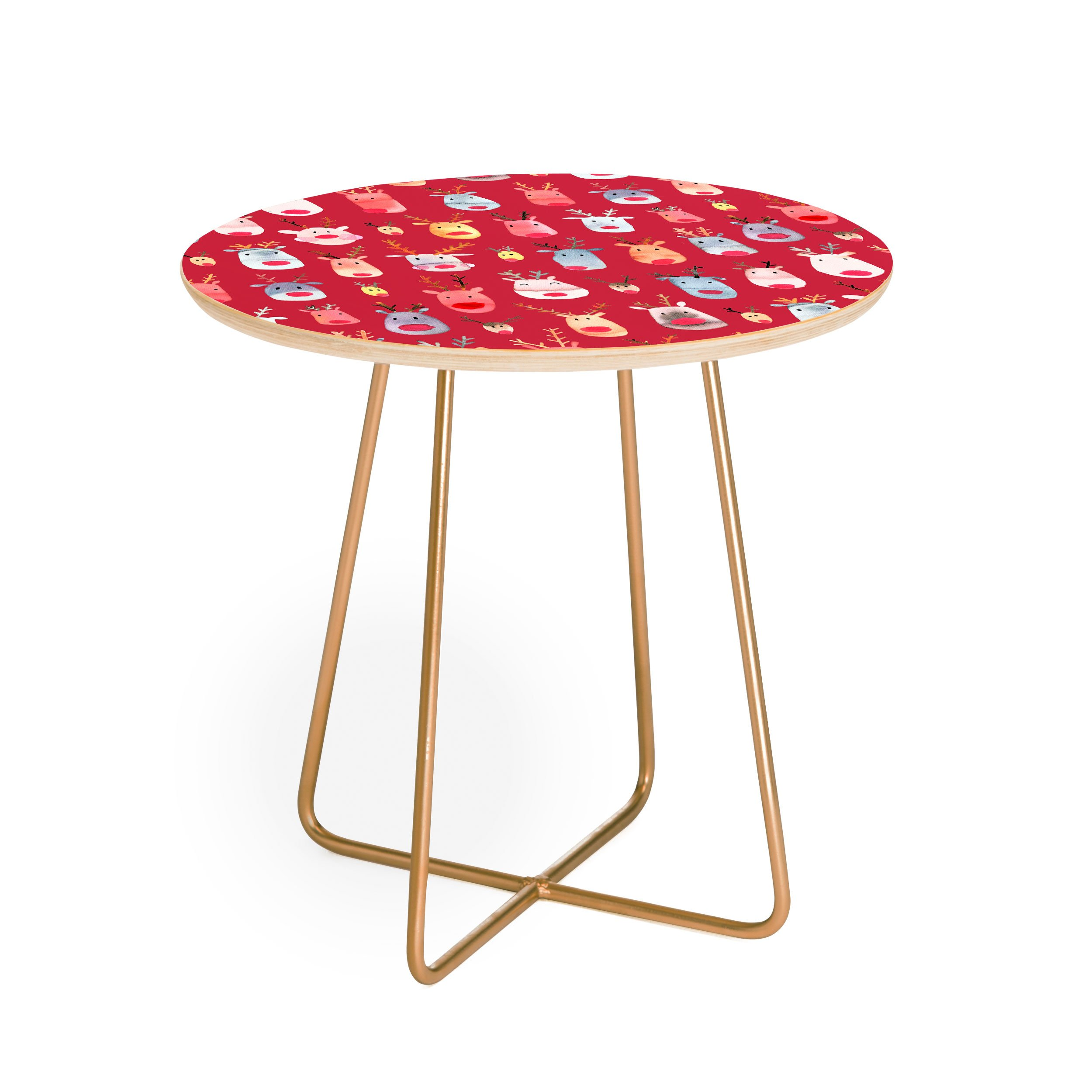 rudolph reindeers red christmas round side table ninola design white background square aston gold outdoor accent large dining rustic farmhouse furniture dark wood trestle plastic