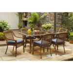 rust resistant patio dining sets furniture the hampton bay spring haven umbrella accent table brown piece all weather wicker outdoor set with end white drop leaf kitchen garden 150x150