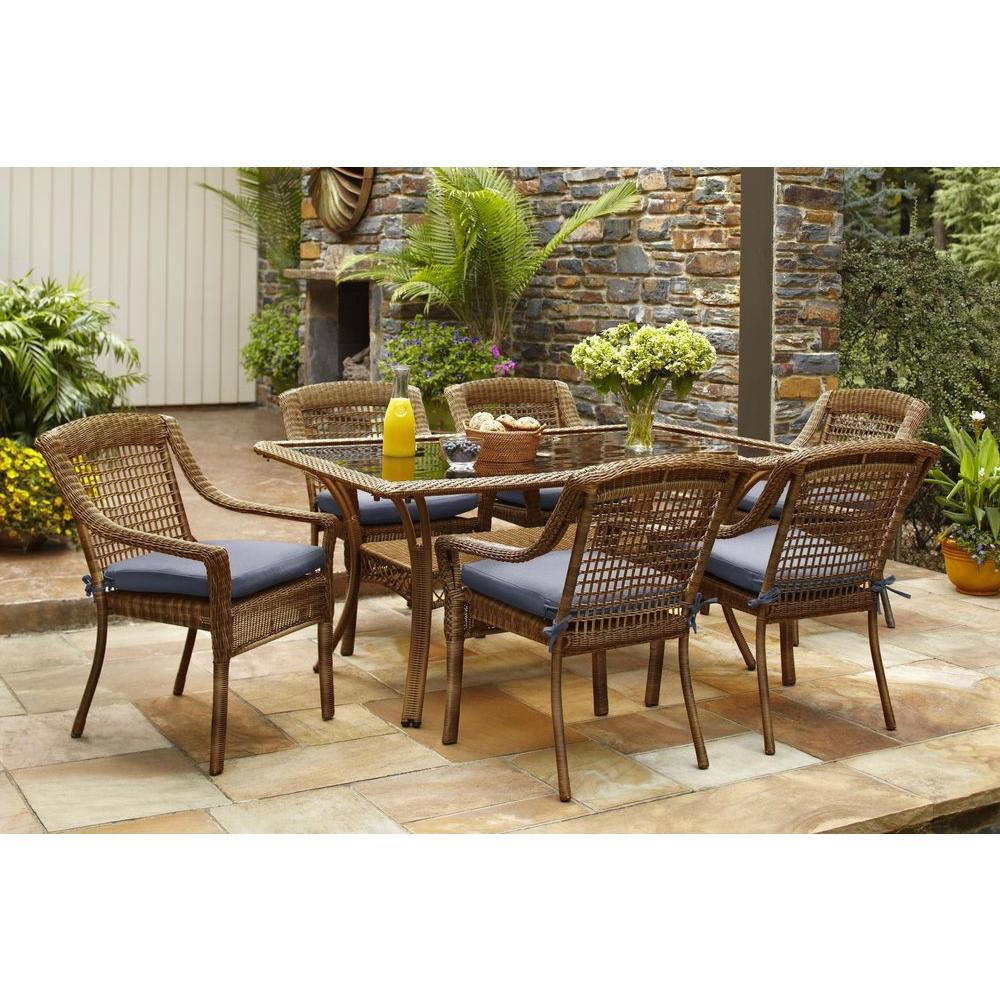 rust resistant patio dining sets furniture the hampton bay spring haven umbrella accent table brown piece all weather wicker outdoor set with end white drop leaf kitchen garden