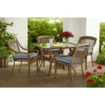 rust resistant patio dining sets furniture the hampton bay spring haven umbrella accent table brown piece all weather wicker outdoor set with inexpensive lamps for less hairpin 150x150