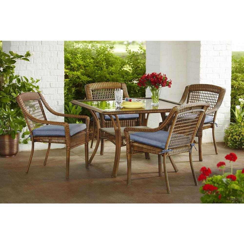 rust resistant patio dining sets furniture the hampton bay spring haven umbrella accent table brown piece all weather wicker outdoor set with inexpensive lamps for less hairpin