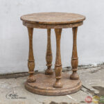 rustic accent table tables bardeau country weathered wooden round short legs dining room furniture names light blue coffee wine rack parsons end bistro garden fitted plastic 150x150