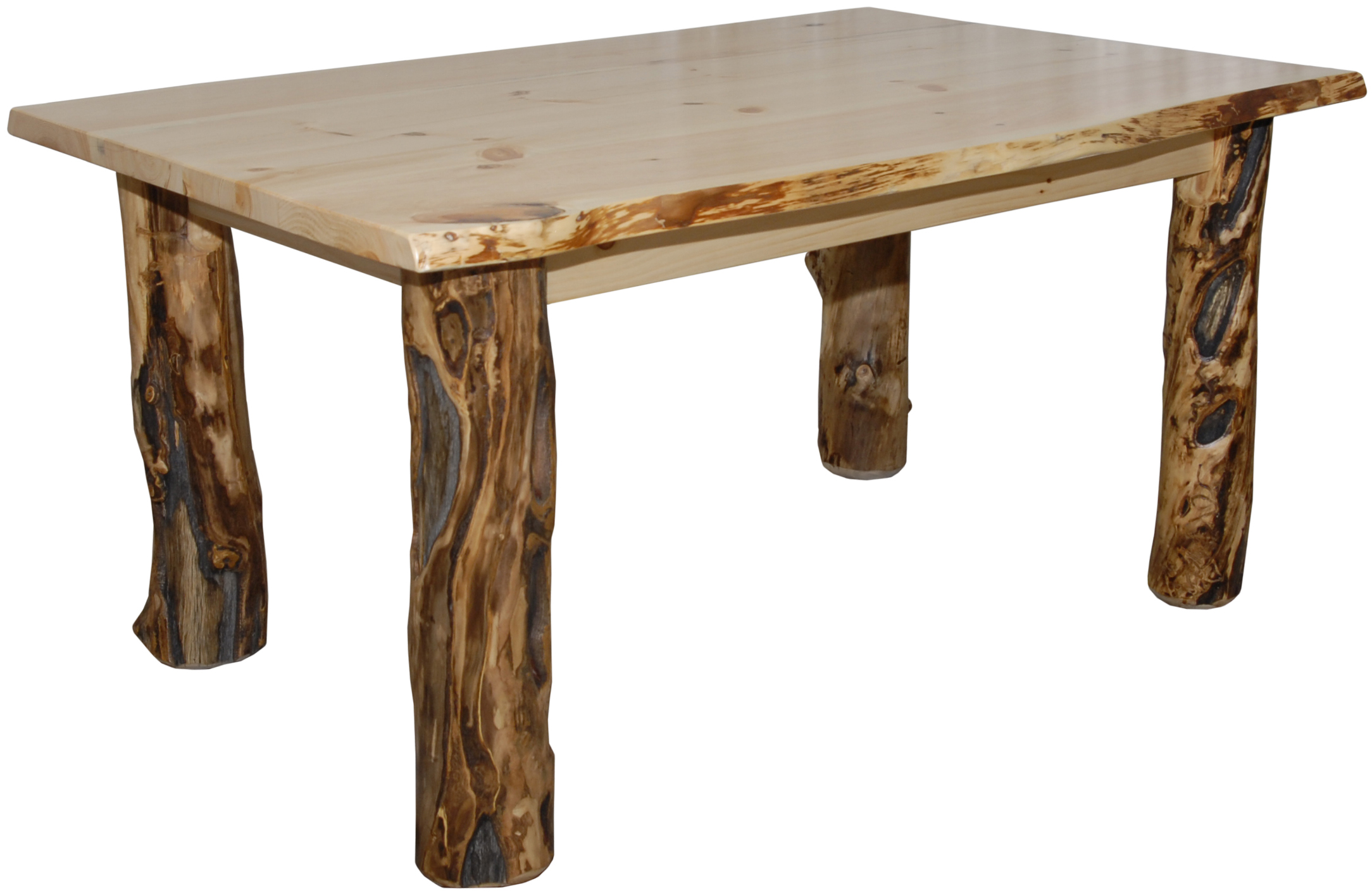 rustic aspen log dining table various sizes kitchen available round end tables home goods accent live edge farmhouse with bench seating cast iron base kohls offer codes chairside