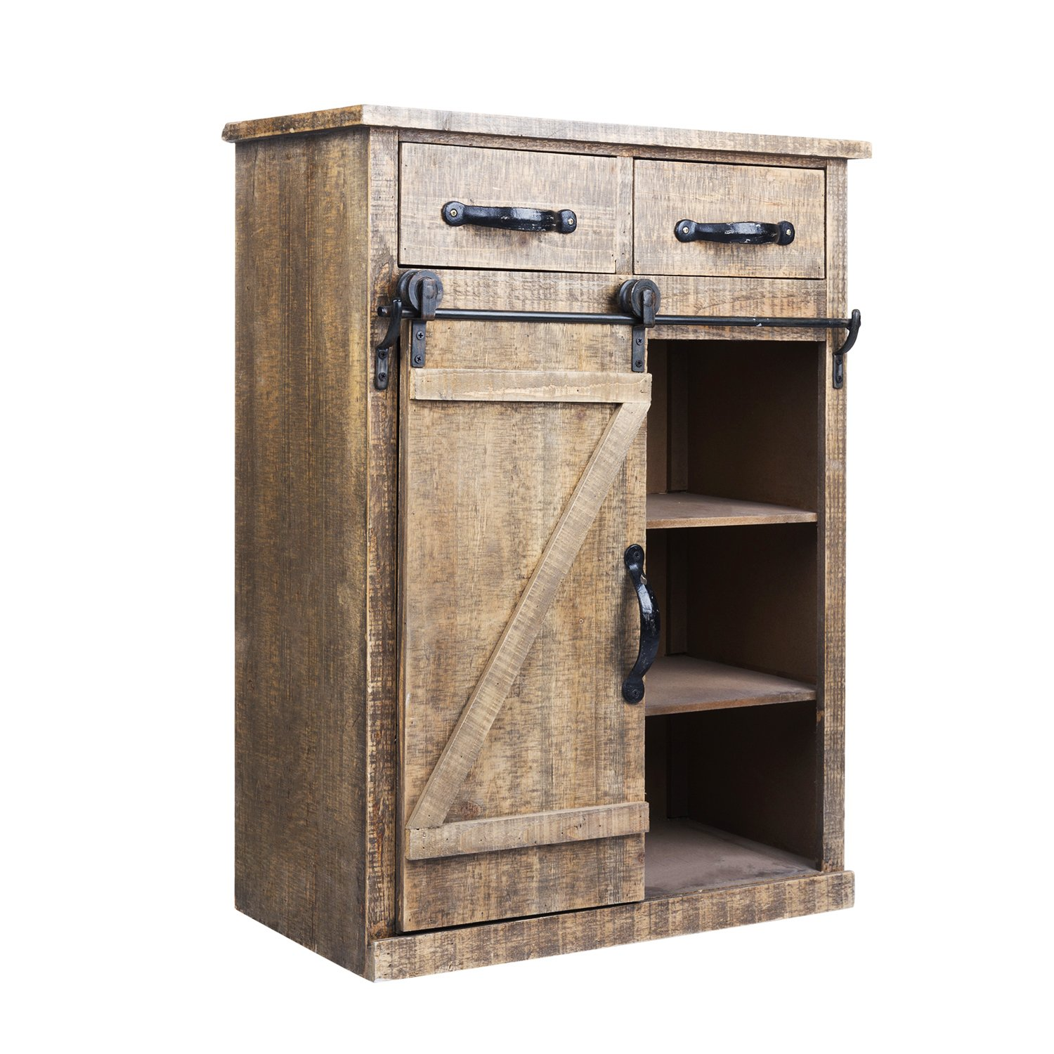 rustic barn door wood end table console accent with drawers and doors cabinet farmhouse storage country vintage furniture kitchen dining twin sleeper sofa brown resin wicker side