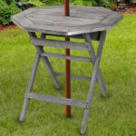 rustic barnwood gray pine wood folding octagonal inch patio accent table bistro with umbrella hole garden outdoor nautical porch lights parasol stand pier wall decor clearance 150x150
