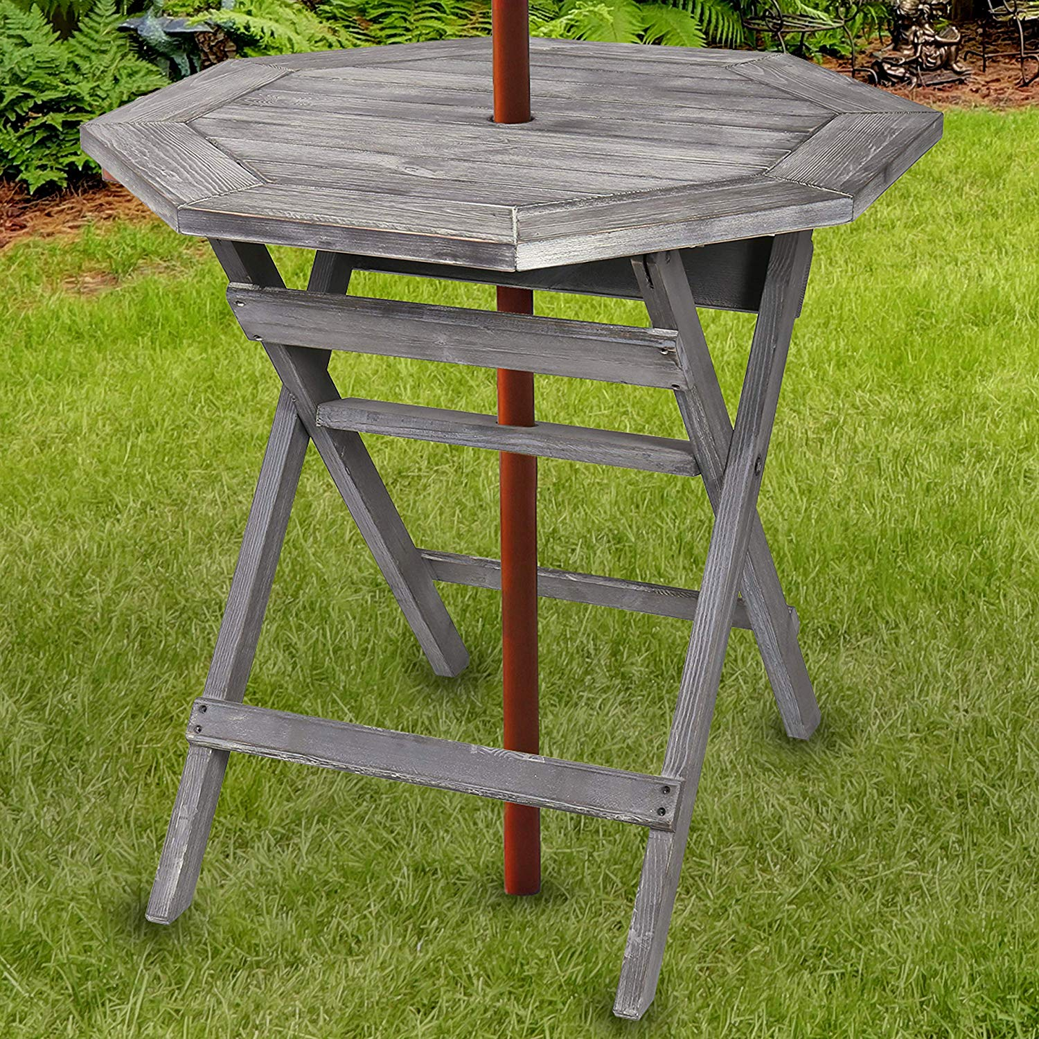 rustic barnwood gray pine wood folding octagonal inch patio umbrella accent table bistro with hole garden outdoor home goods chairs woven furniture gold runner mirrored tray end