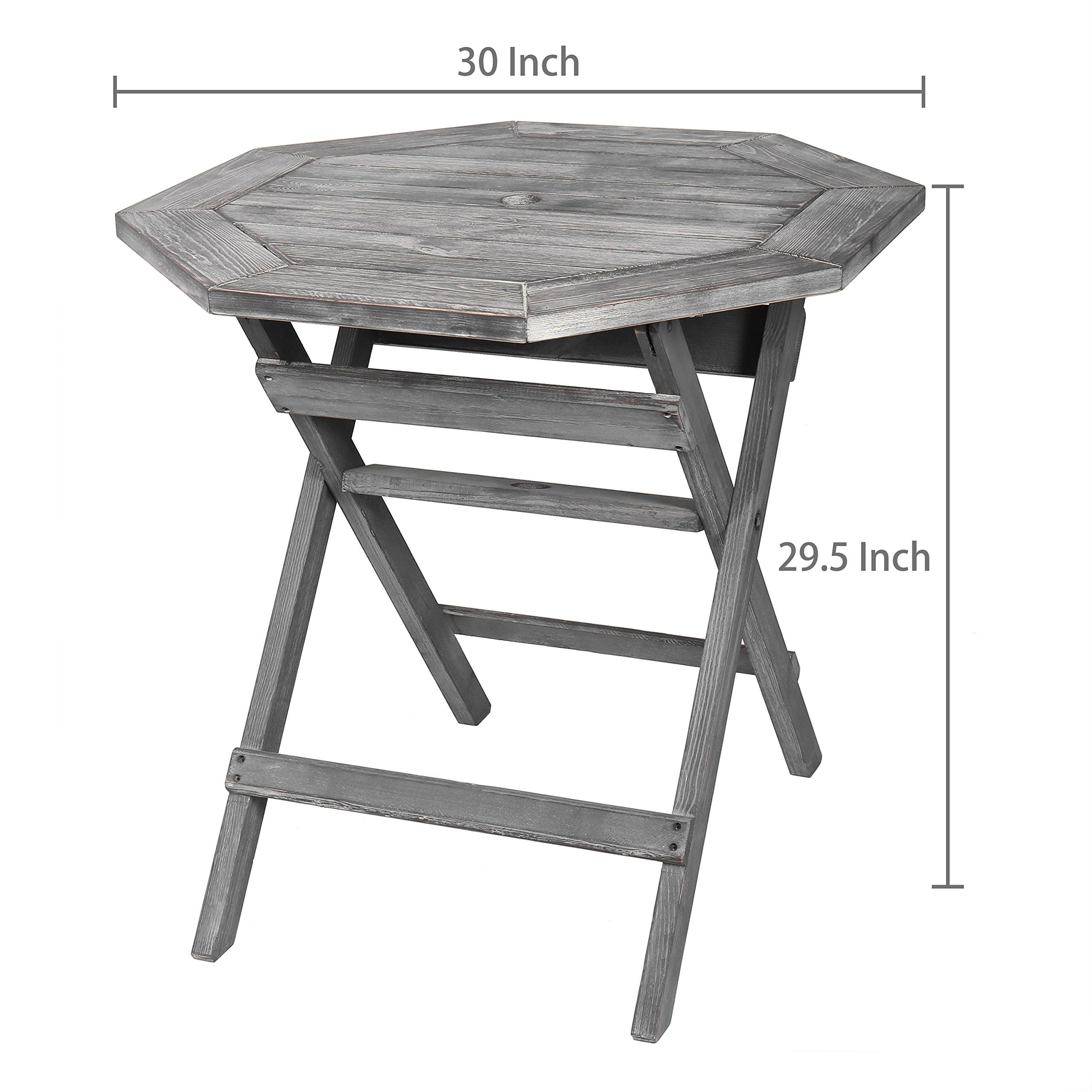 rustic barnwood gray pine wood folding octagonal patio accent bistro umbrella table with hole tops and legs commercial outdoor furniture tall lamp unique drawer pulls side tables