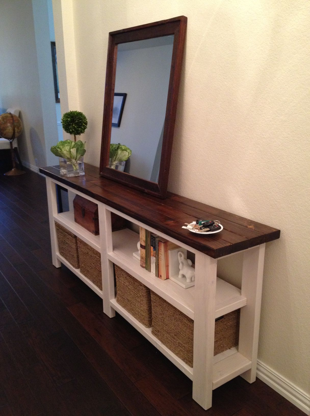 rustic chic console table for the home furniture tall thin accent entryway with mirror storage love you could also just hang wall and have more space this would great place