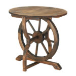 rustic chic wagon wheel wood accent table decor stock ture side with umbrella hole metal yellow square farmhouse coffee living room cabinets round and pier imports patio furniture 150x150