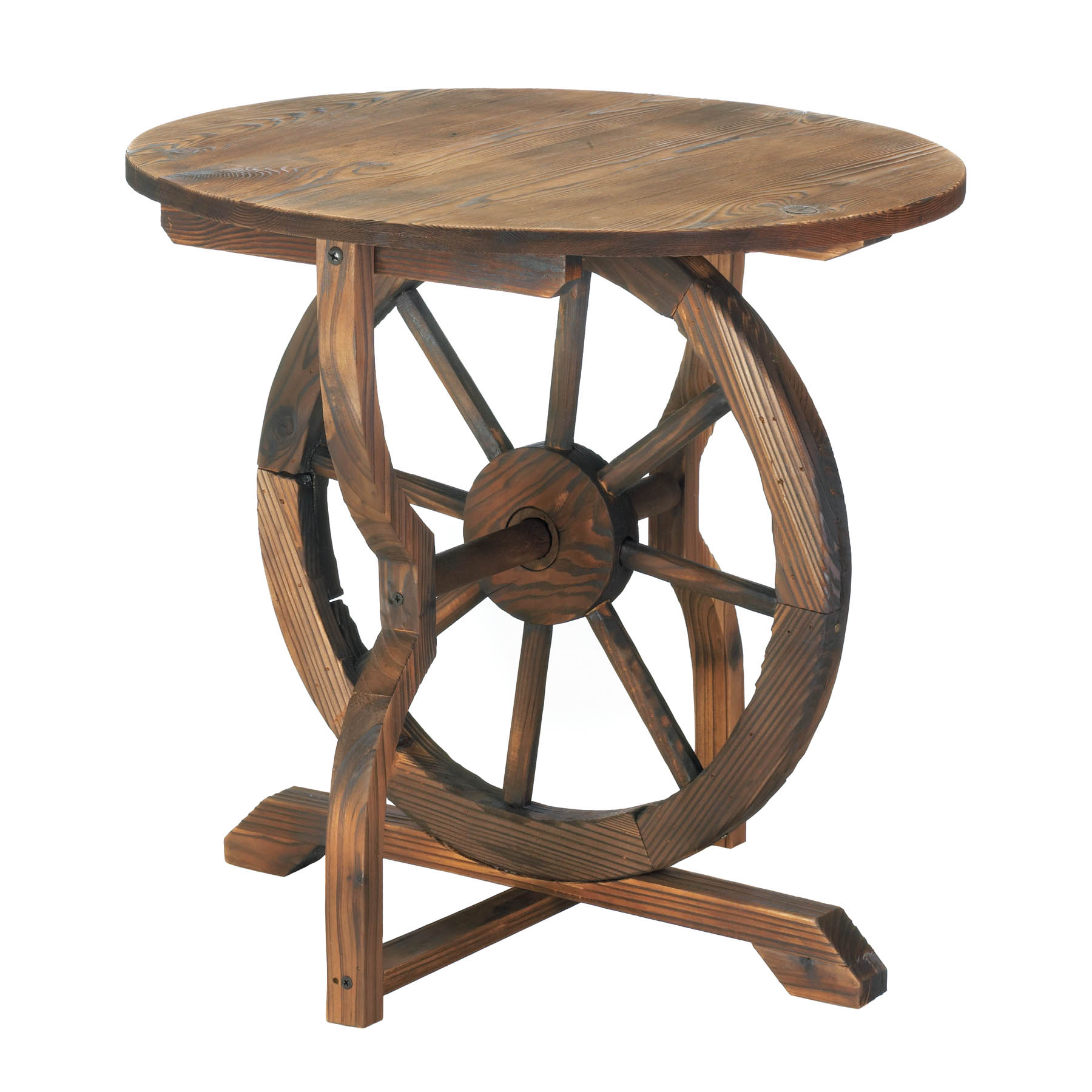 rustic chic wagon wheel wood accent table decor stock ture side with umbrella hole metal yellow square farmhouse coffee living room cabinets round and pier imports patio furniture