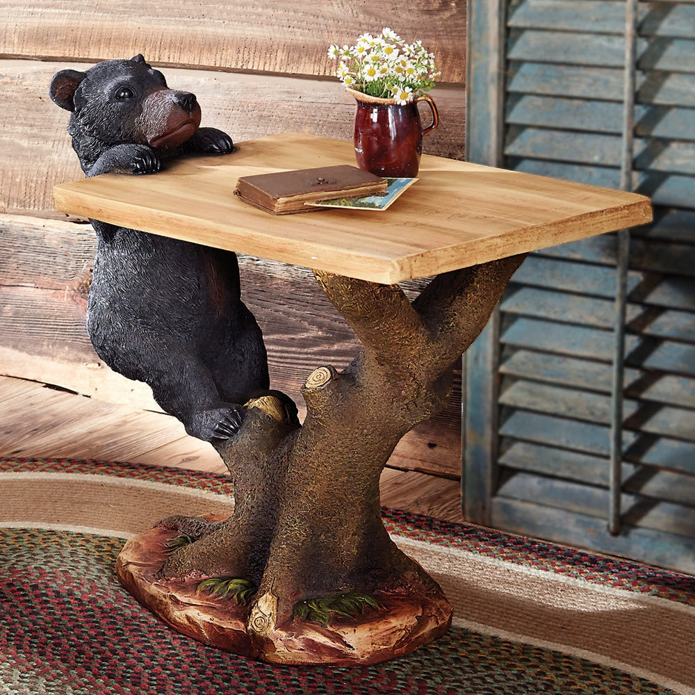 rustic coffee tables and end black forest decor bear clim accent table wood slab metal furniture ethan allen console small garden pedestal base glass narrow mirrored ikea storage