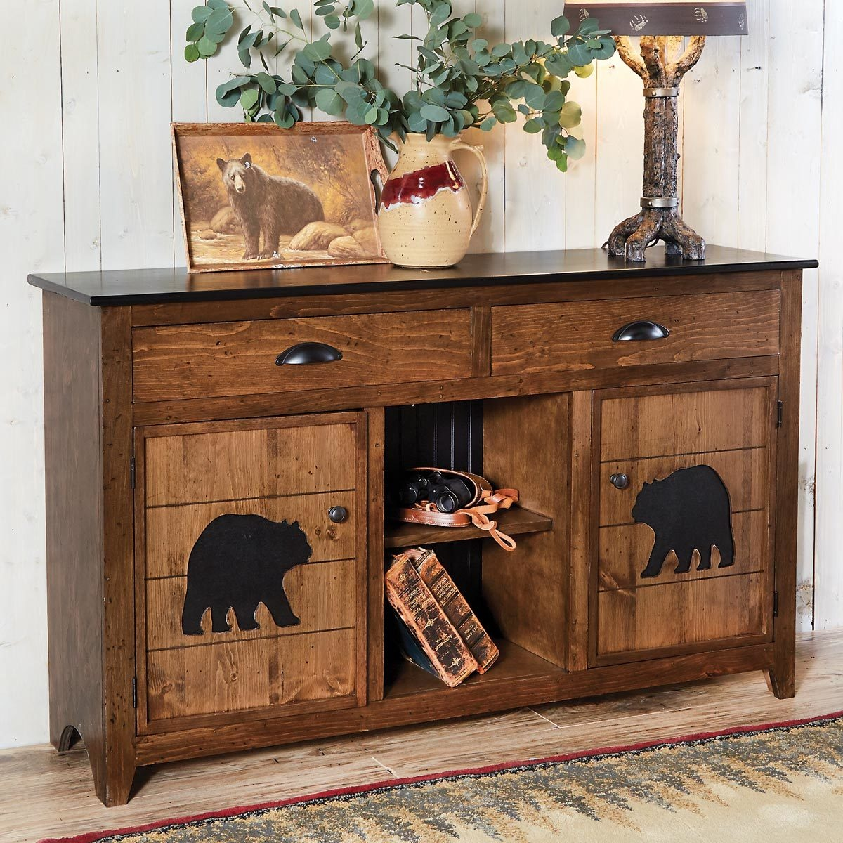 rustic coffee tables and end black forest decor bear mountain console table stratford wicker folding accent bronze entry round side with drawer storage cupboards doors thin ikea